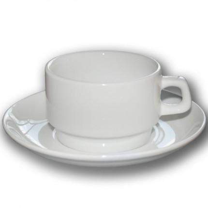Чашка чайная белая с блюдцем в аренду